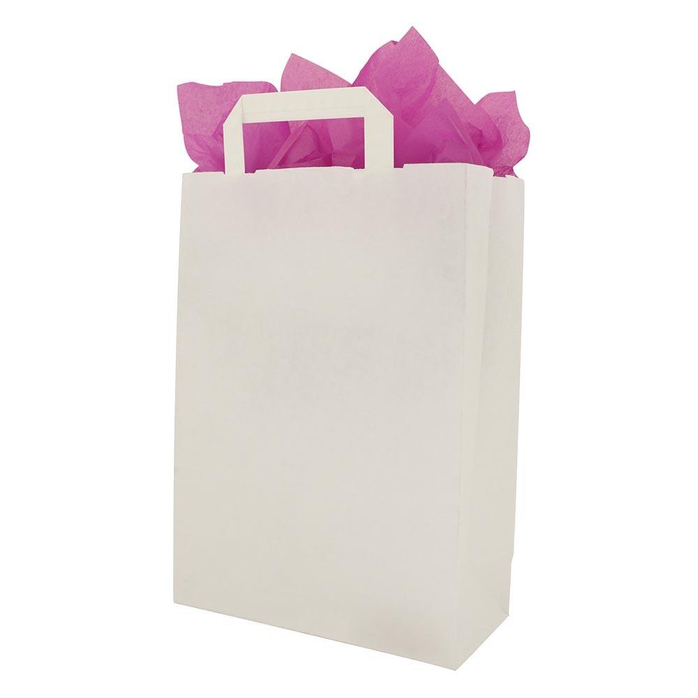 tas papier platte handgrepen Wit kraft onbedrukt