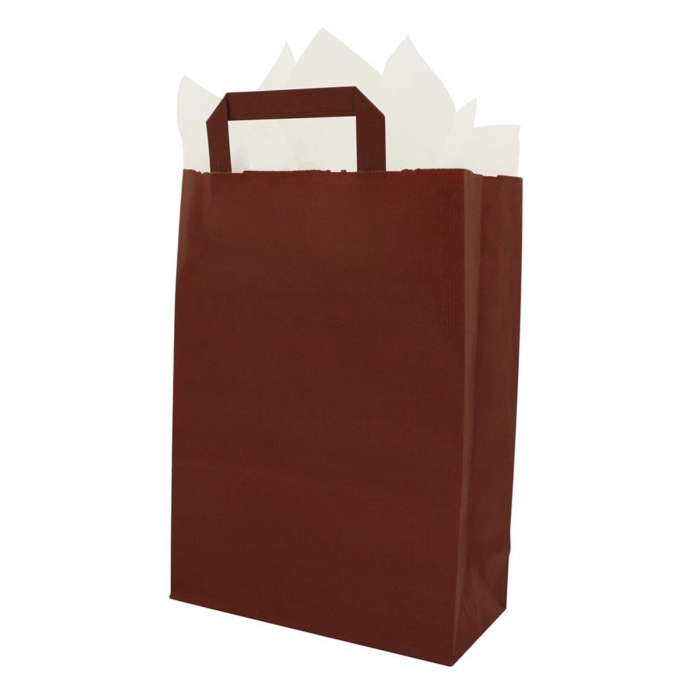 Papieren draagtassen platte handgrepen - Bordeaux rood