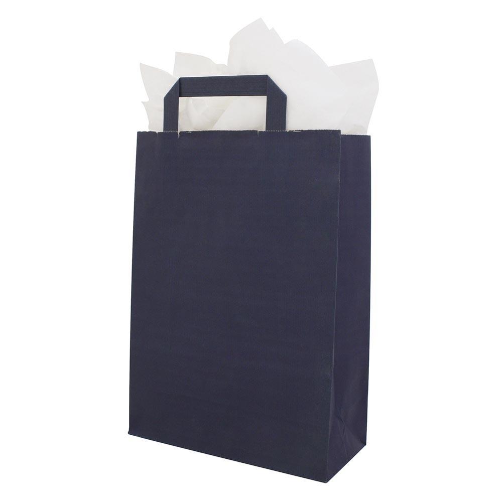 Papieren draagtassen platte handgrepen donkerblauw s.o.s. paper bags