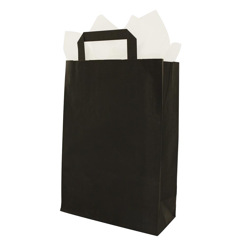 black paper carrier bag flat handle