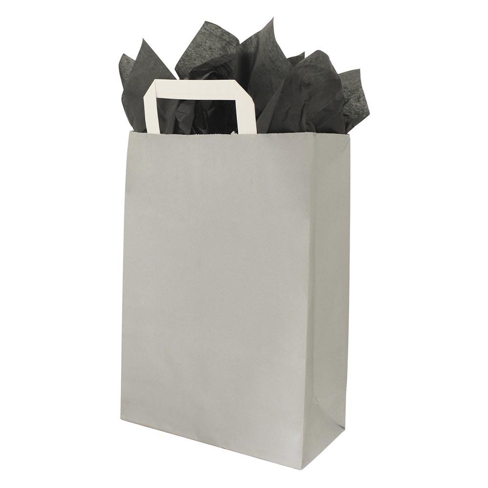 Papier draagtas platte handvat All over Zilver