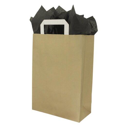 Papieren draagtassen platte handgrepen - Goud
