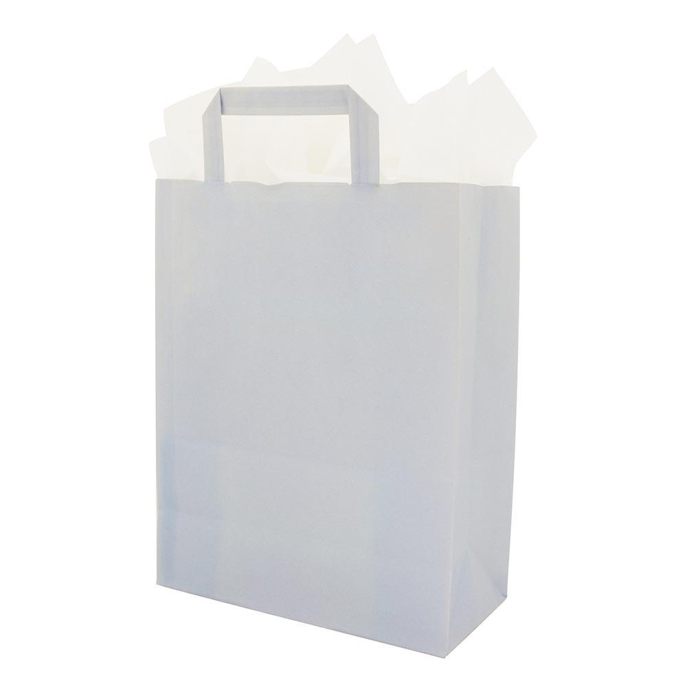 Papieren draagtassen vlakke handgrepen - Hemelsblauw
