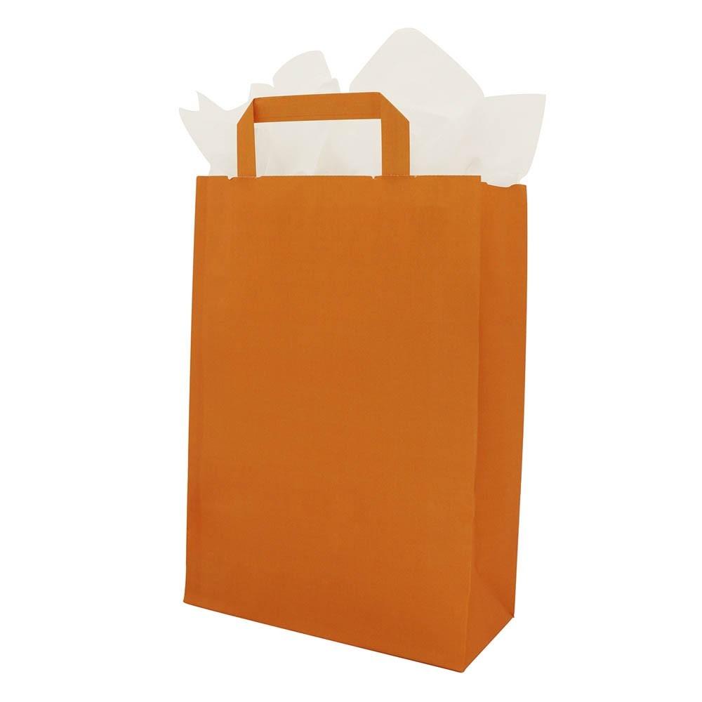 Papieren draagtassen platte handgrepen Oranje