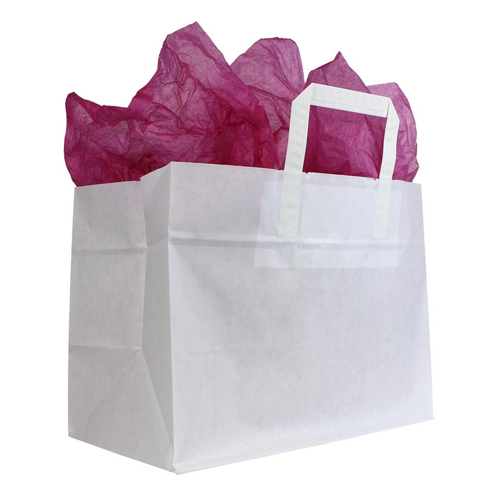 Take Away bags platte lussen extra brede bodem wit kraft