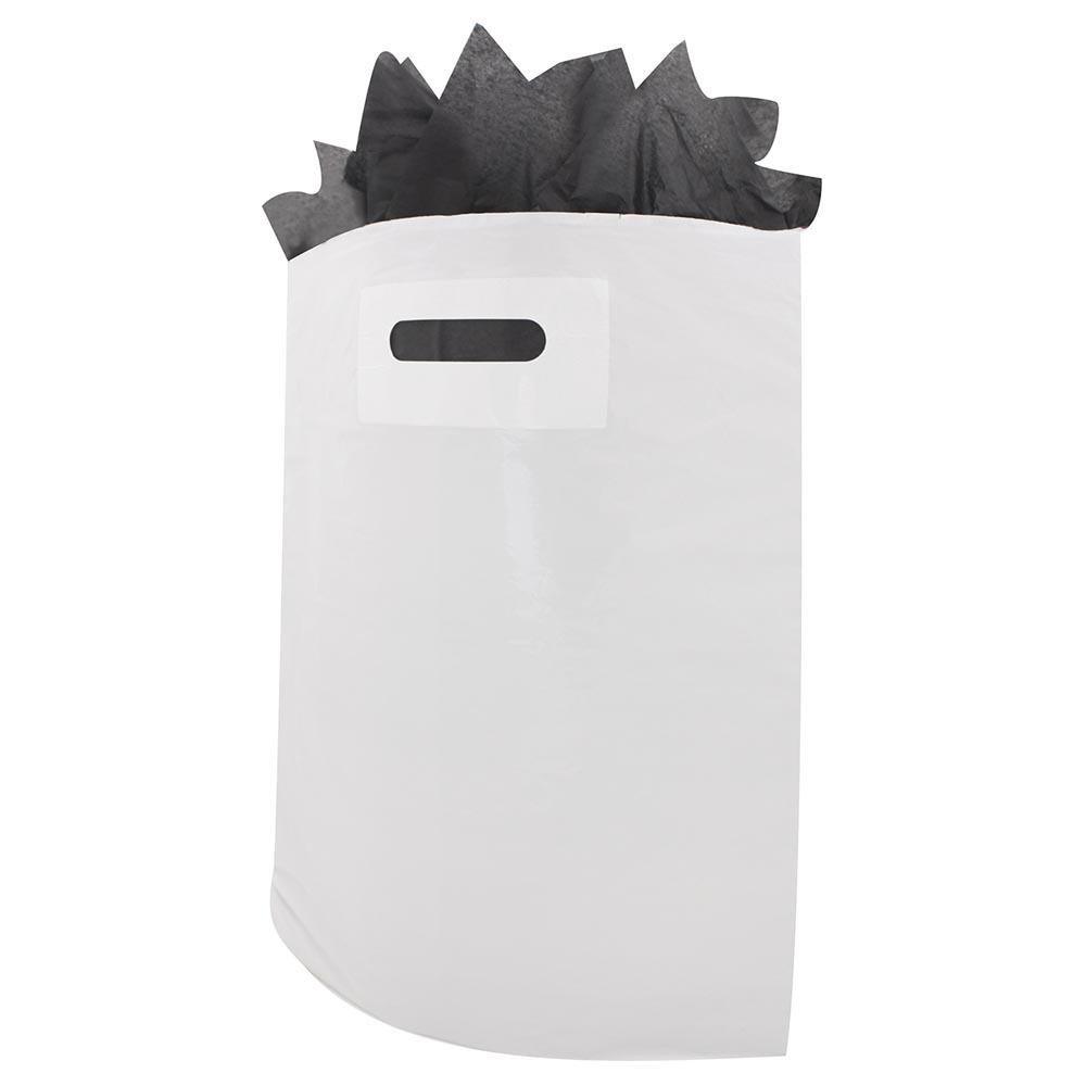 Plastic dkt draagtassen wit ldpe uitgestanste handgreep