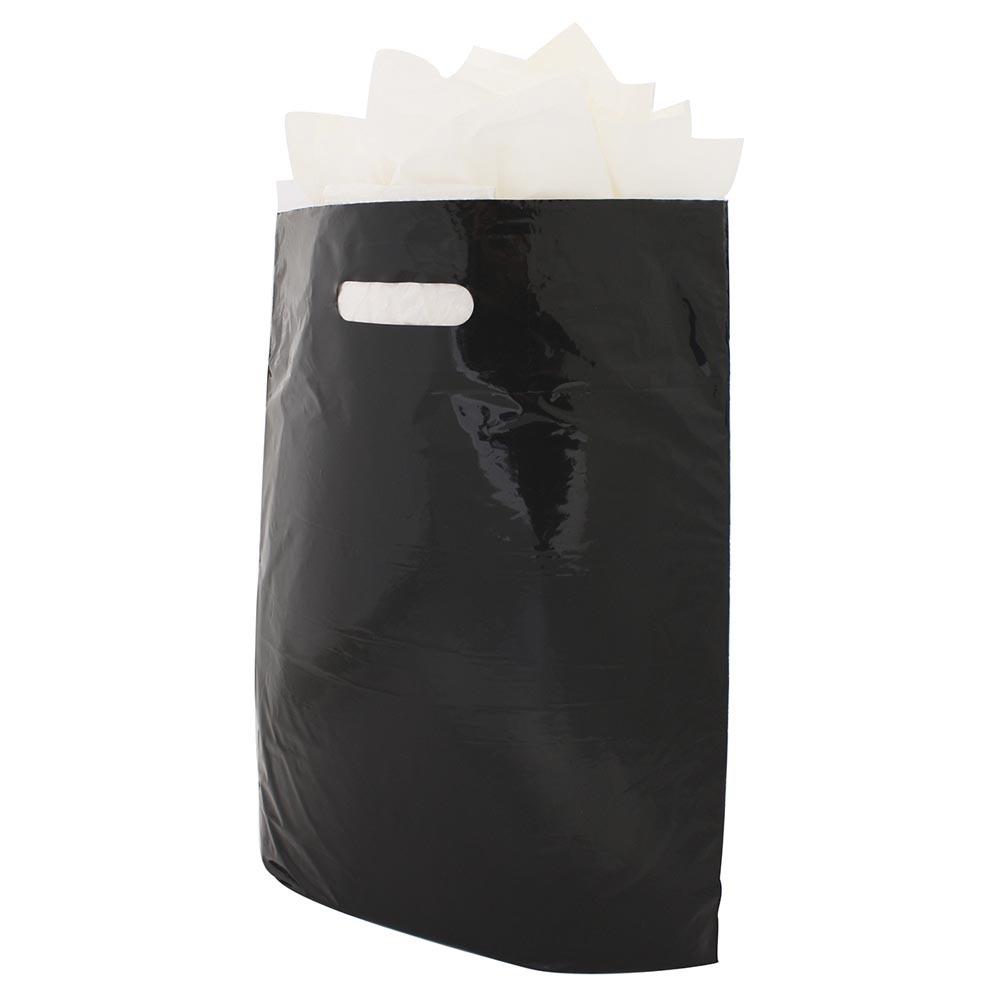 Plastic draagtassen zwart ingekleurd ldpe uitgestanste handgreep