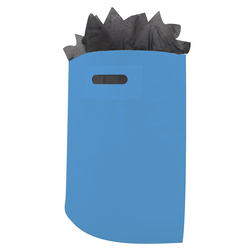 Plastic draagtassen blauw ingekleurd ldpe uitgestanste handgreep
