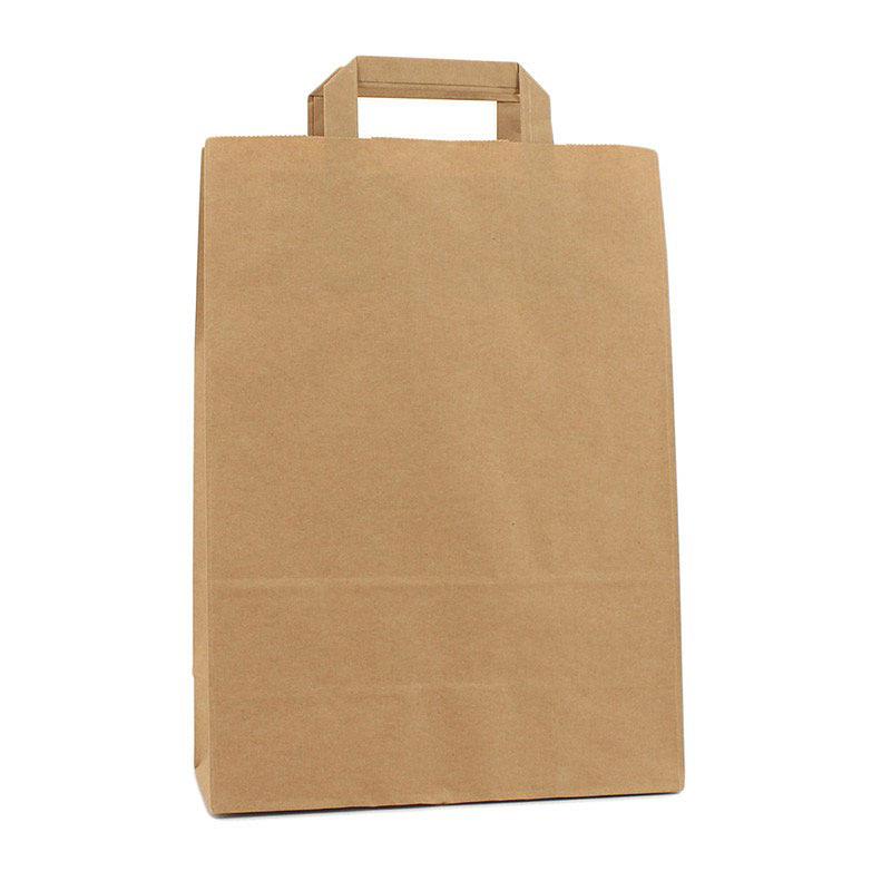 Papieren tas van bruin kraft met platte grepen