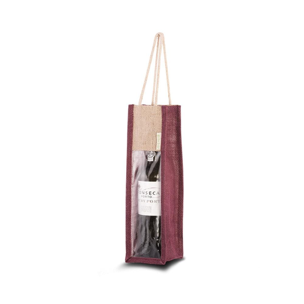jute venster tas wijn