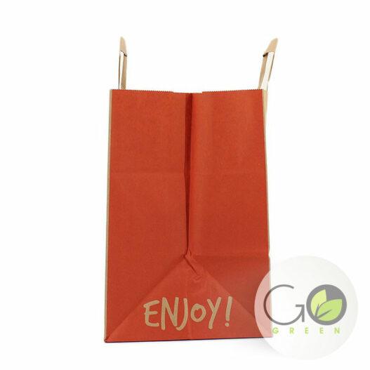 take away FSC papier draagtas take-away extra brede bodem