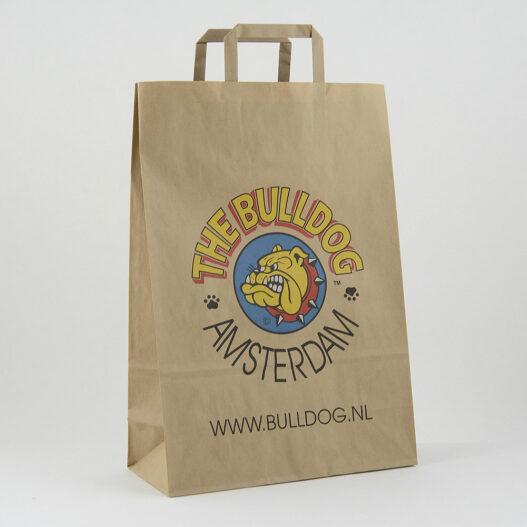 Papieren draagtas bruin kraft platte lussen Bulldog Amsterdam