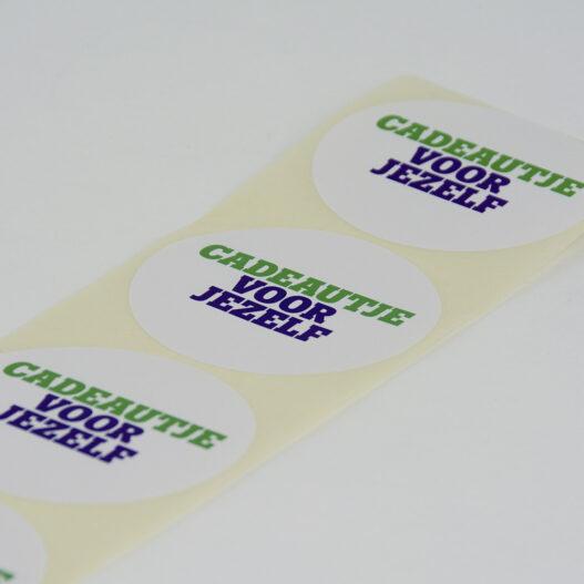 roletiketten papier tele2 cadeautje voor jezelf wit rond