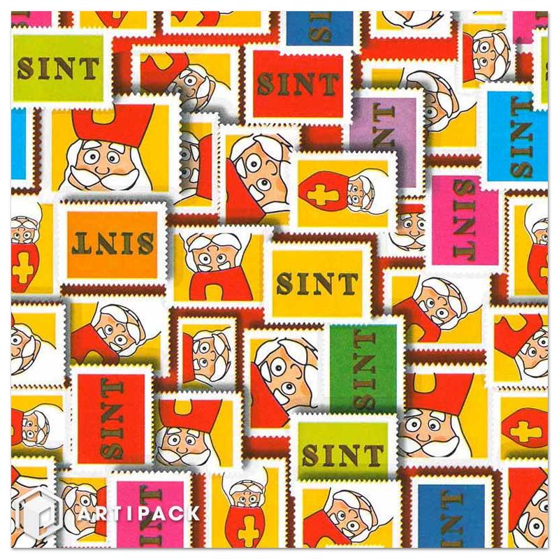 Dessin 001 Sint wit kado papier zegels in kleuren rood en geel