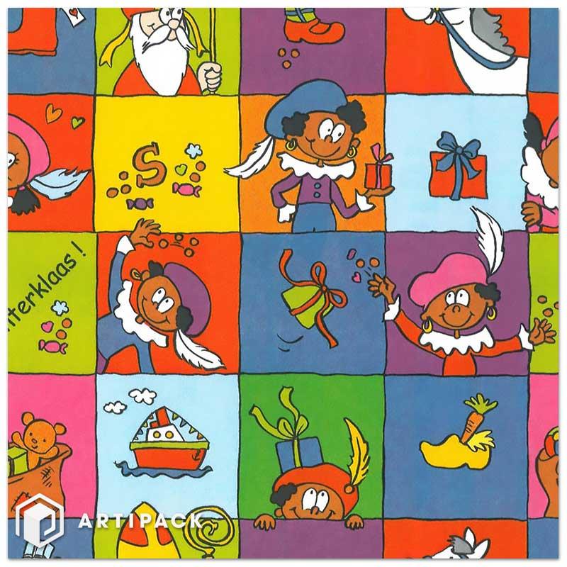 Sinterklaas geschenkpapier op rol dessin 004 diverse paars groen blauw geel wit gestreken kraft