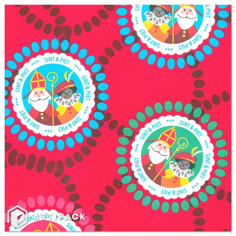 5december dessin 009 sint & piet kleur rood, cadeaupapier wit gestreken kraft