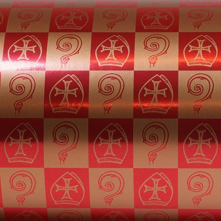 Goudkleurig Sinterklaas cadeaupapier rood