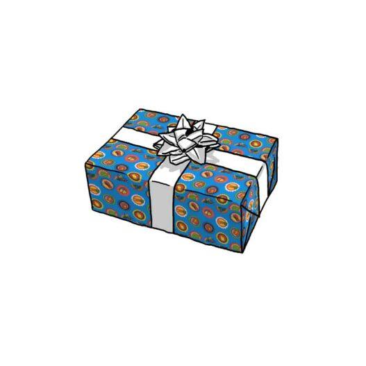 Sinterklaas Geschenkpapier 5 december blauw dessin 90002k wit gebleekt kraft - strik