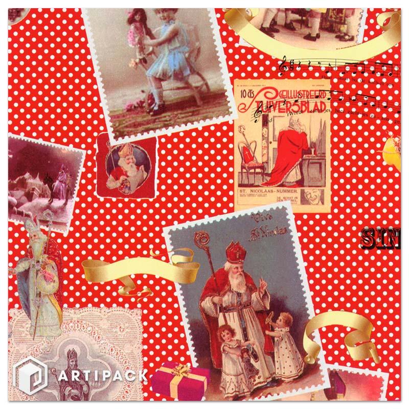 Sinterclaes op foto's, sinterklaas wit cadeaupapier op rol dessin 90004 kleur rood + goud