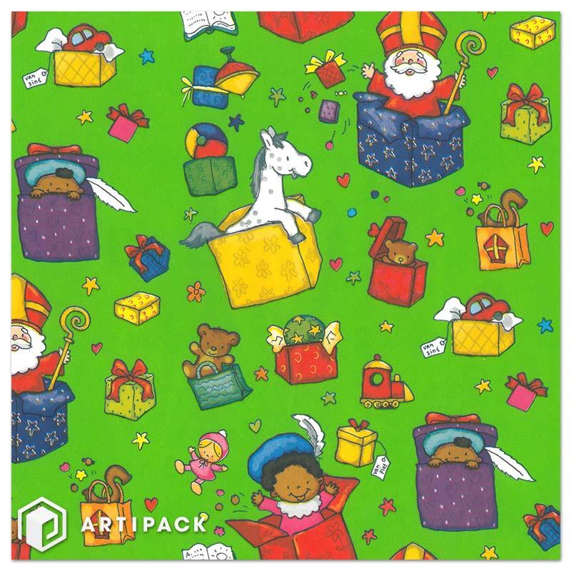sinterklaas cadeaupapier op rol dessin 90012 kadootjes groen wit gestreken kraft