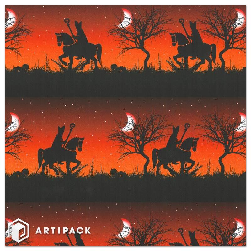 Zie de maan schijnt door de bomen in rood en oranje geschenkpapier