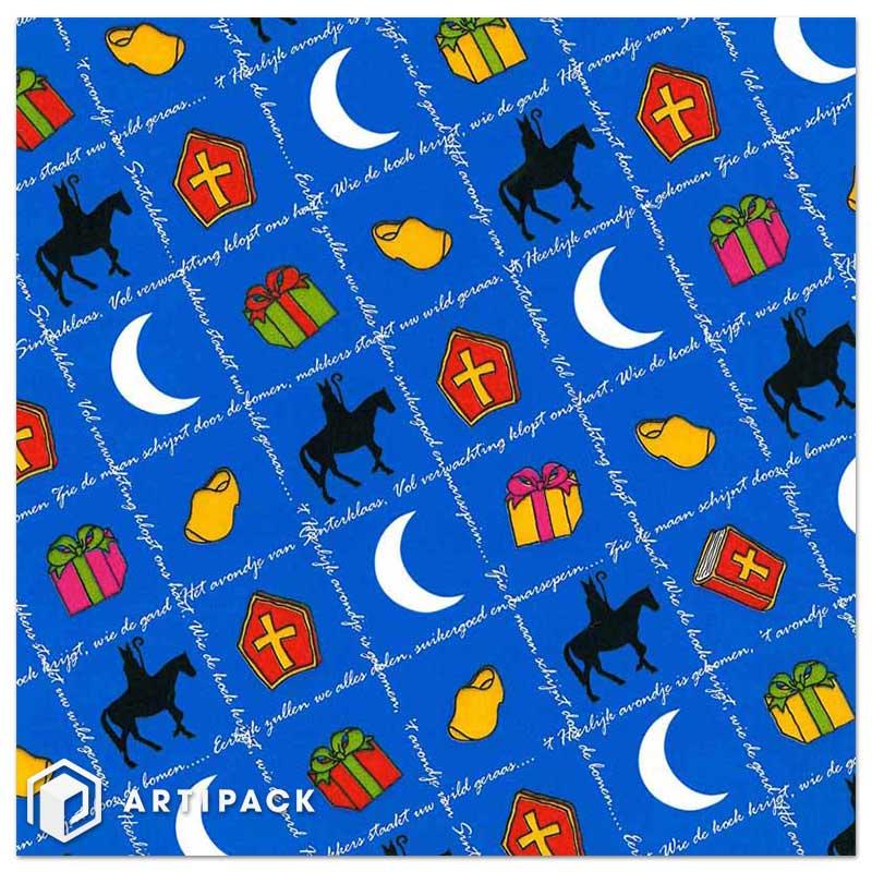 Wit Sint Cadeaupapier op rol met opdruk Heerlijk avondje 90022 blauw