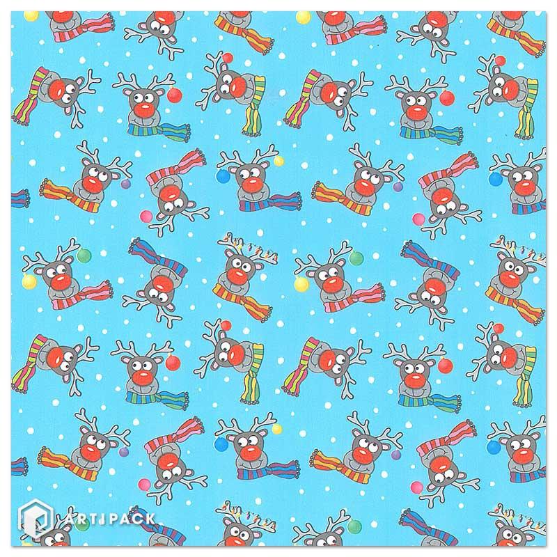 Cadeaupapier opdruk rendieren kleur blauw