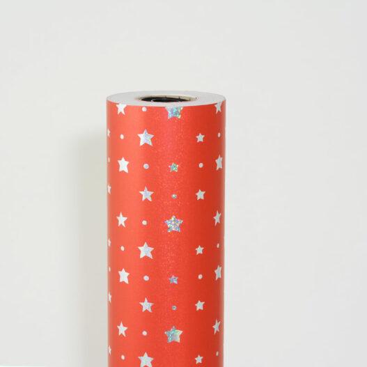 Holografisch kerstpapier sterren rood - k217