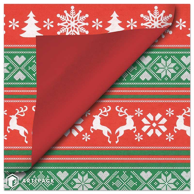 Kerst cadeaupapier - Opdruk in rood, wit & groen rendieren
