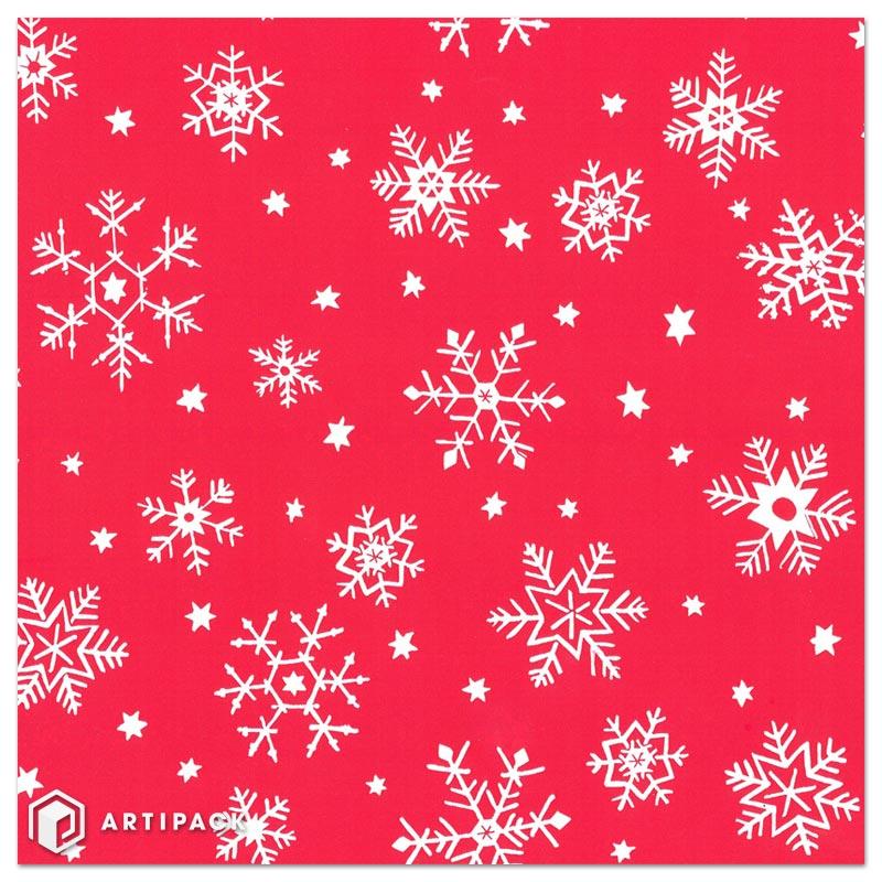 Kerst cadeaupapier ijskristallen kleur rood