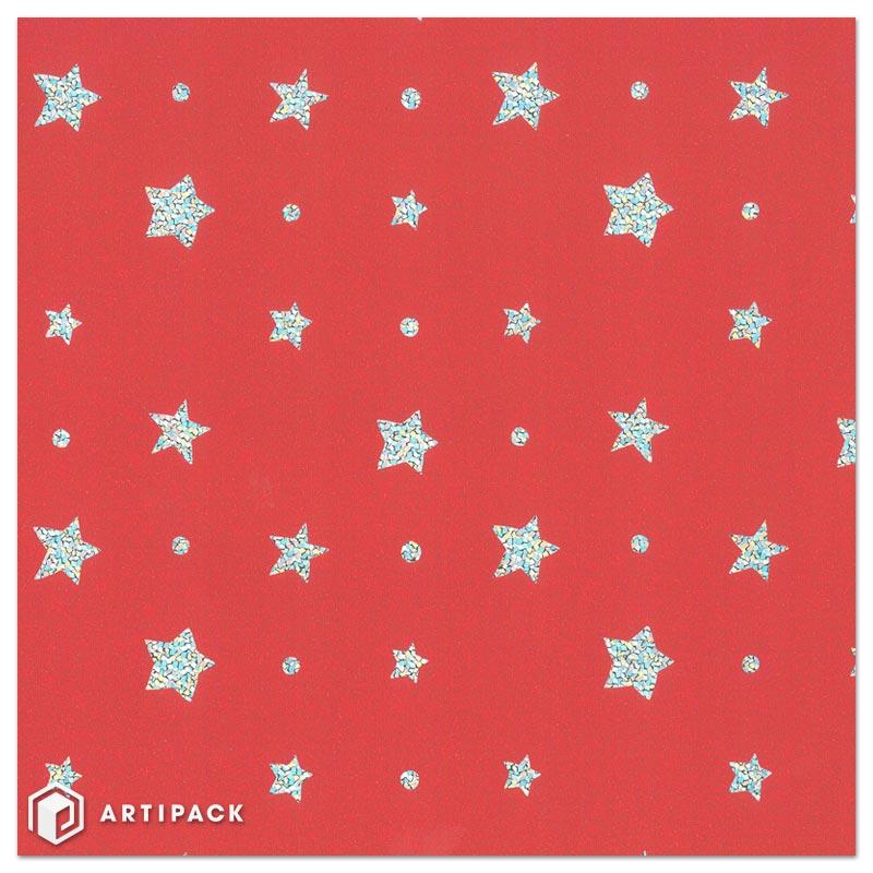 Kerst holografisch kadopapier sterren glitters