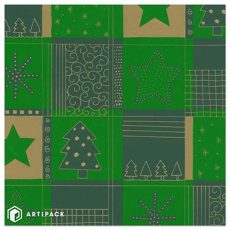 Kerst inpakpapier bomen & sterren kleur groen