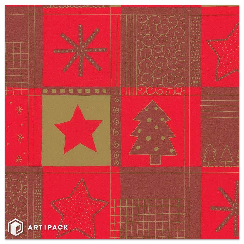 Kerst kado papier Opdruk ster boom kleur: rood goud