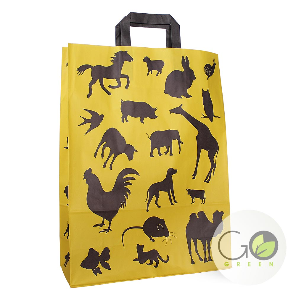draagtas bedrukt met dieren kip vis hond muis kameel kat varken vogel paard slak schaap koe uil