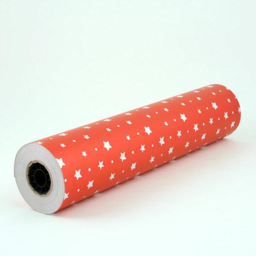 Rol rood inpakpapier sterren - k217