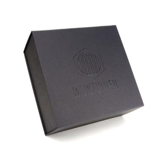 Zwarte magneetdoos met logo Wijntuinen