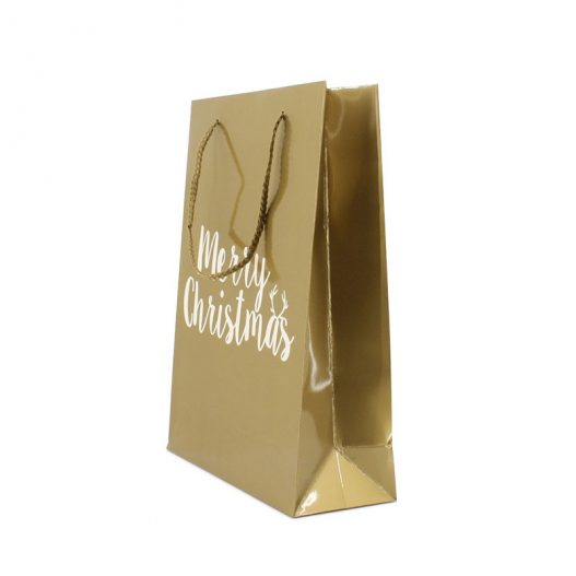 Luxury paper carrier bag Merry Christmas - Gold