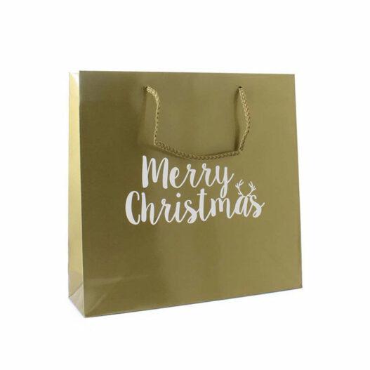 Papieren kersttassen - Merry Christmas Goud