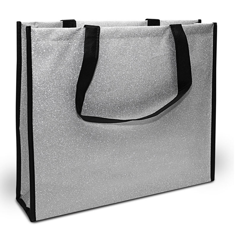 Glossy Glitter shoppers silver