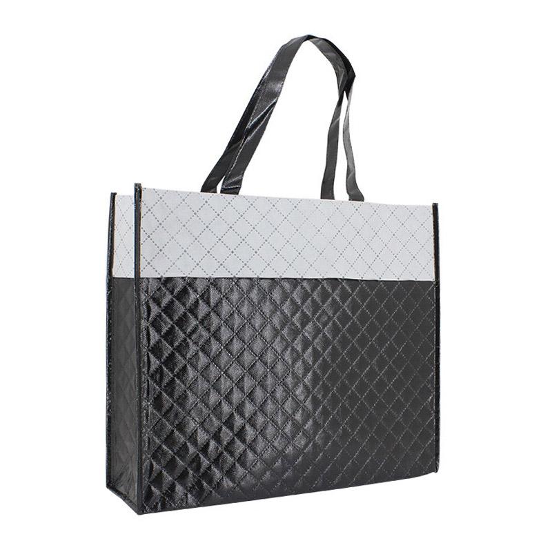 Ruitjespatroon Non Woven tas - zwart/wit