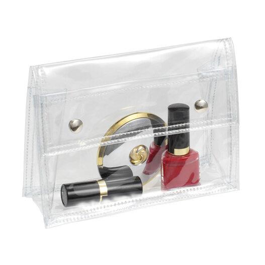 Toiletry transparent bag - metal press buttons