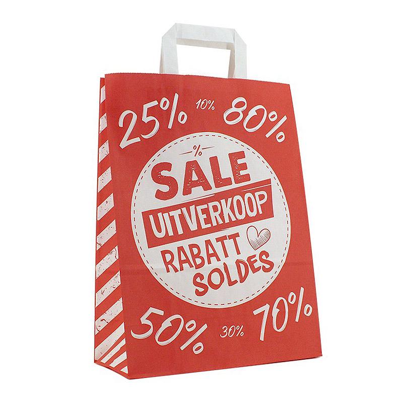 Draagtassen papier opdruk: Uitverkoop Sale Rabatt Soldes