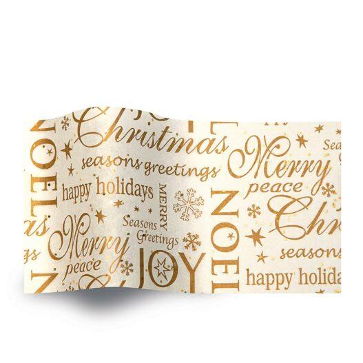 Kerst zijdevloeipapier christmas GS2006B noel seasons greetings wit gemstones