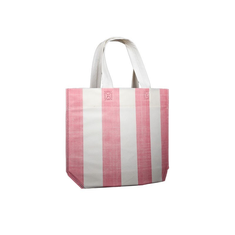 pink stripes carrier bag