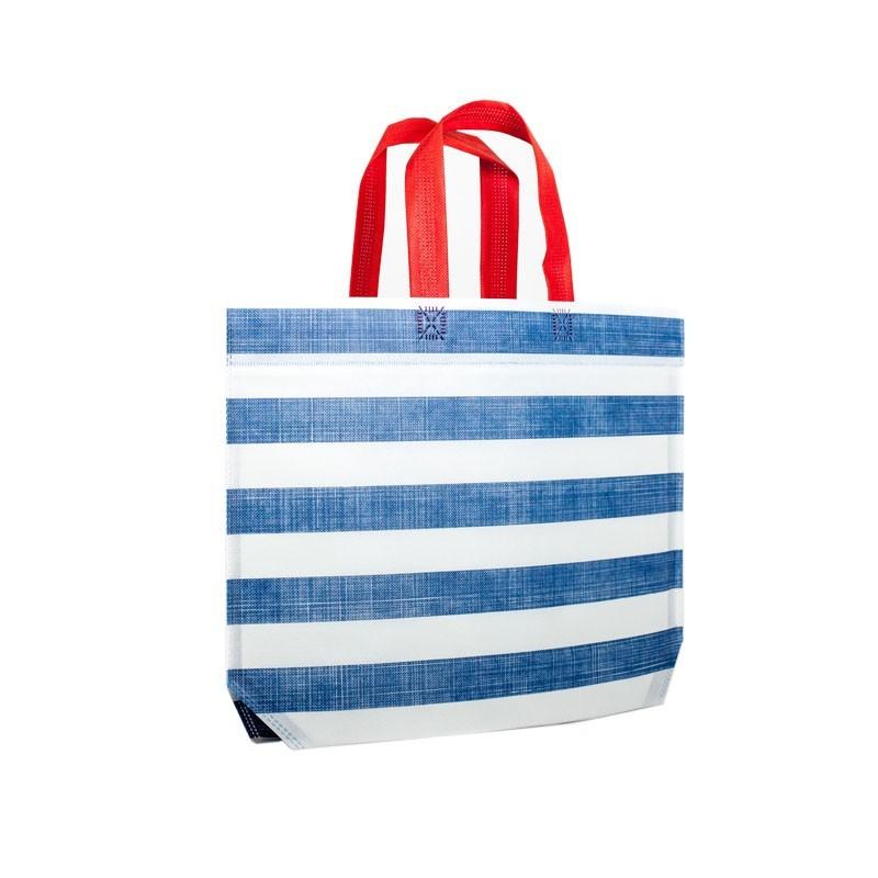 Strandtas met blauwe strepen