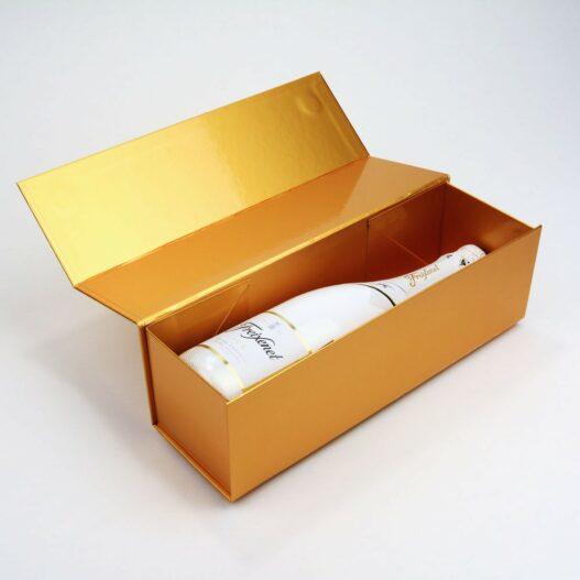 Goudkleurige wijngeschenkverpakking