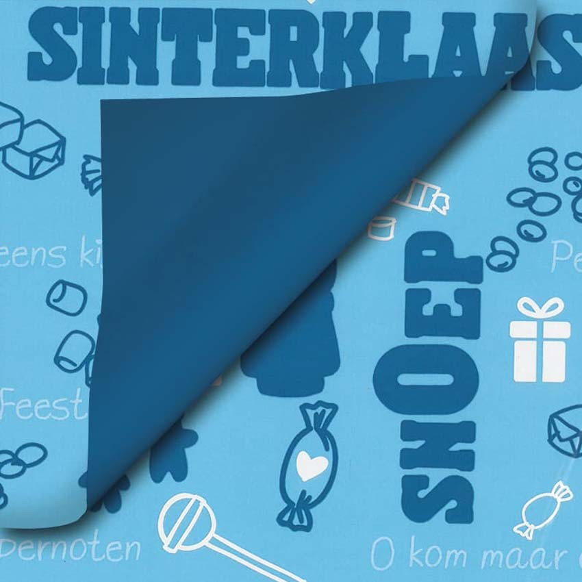 Sinterklaas cadeaupapier - blauw
