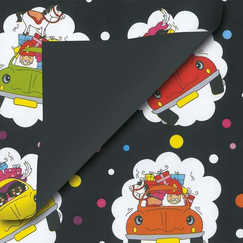 Sinterklaas geschenkpapier zwart auto