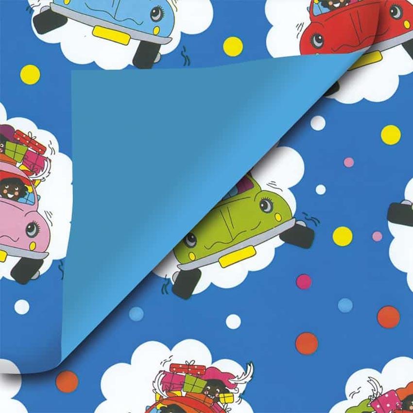 Blauw Sinterklaas inpakpapier auto