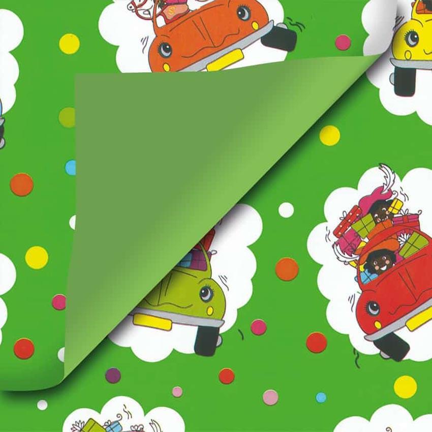 Groen Sinterklaas cadeaupapier auto's
